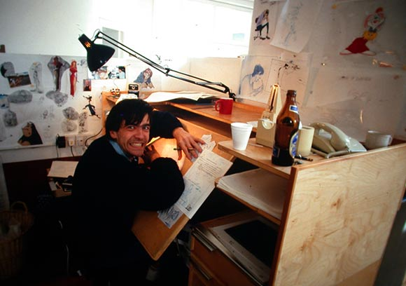 "Uli Meyer working on ""Who Framed Roger Rabbit"" in 1987. (Photo via Hans Bacher's excellent blog.)"