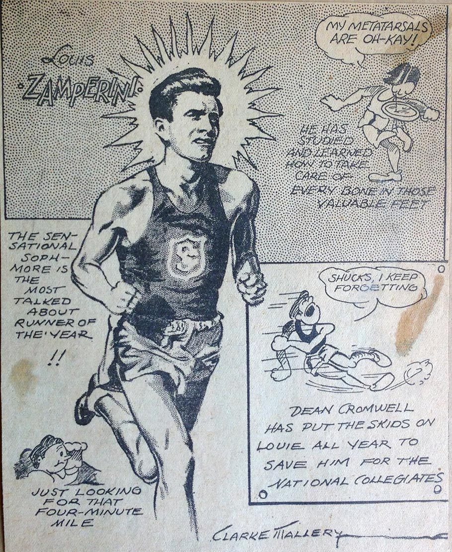 A drawing of Zamperini by Clarke Mallery.