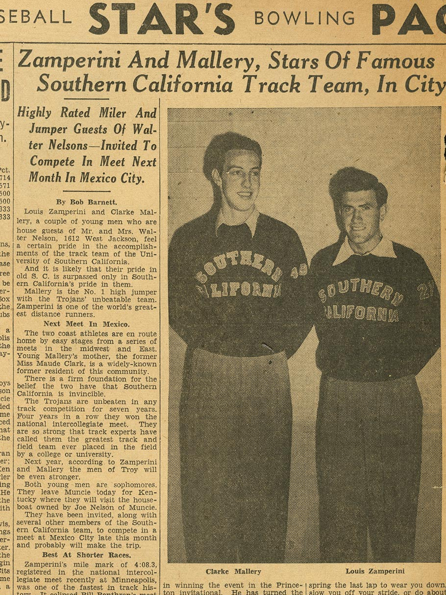 Clarke Mallery and Louis Zamperini, ca. 1939.