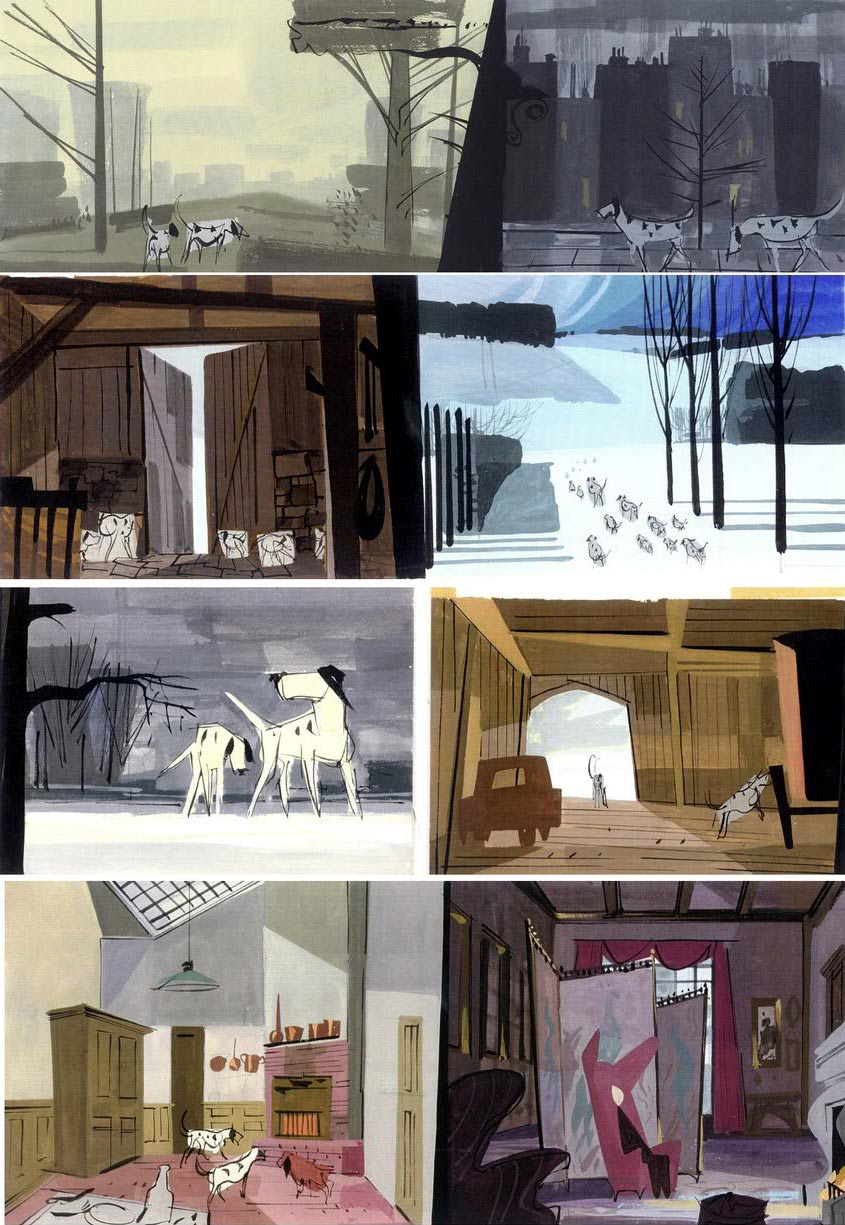 "Color keys from ""One Hundred and One Dalmatians"" (1961). Click to enlarge."