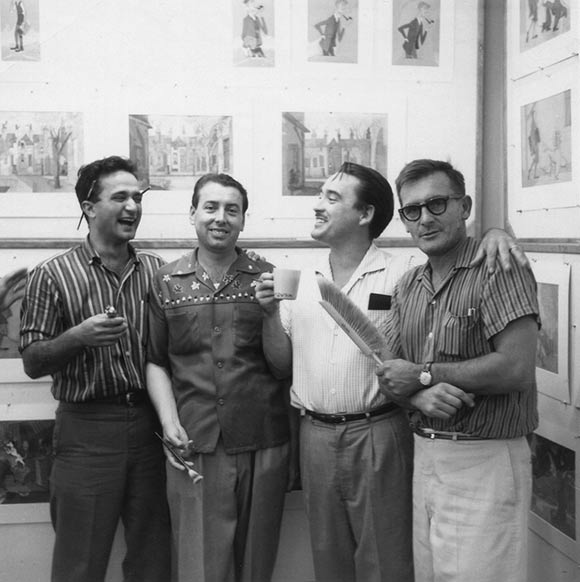 "From left to right: Vic Haboush, Tony Rizzo, Walt Peregoy, and Tom Oreb during the production of ""101 Dalmatians,"" 1958. (Photo courtesy of Ray Aragon.)"