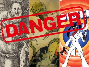 "From left to right: Thomas Nast drawing of ""Boss"" Tweed; erotic drawing by Tomi Ungerer; Ralph Bakshi's ""Coonskin."" (Danger sign: Shutter)"