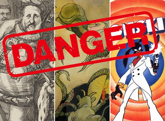 """From left to right: Thomas Nast drawing of """"Boss"""" Tweed; erotic drawing by Tomi Ungerer; Ralph Bakshi's """"Coonskin."""" (Danger sign: Shutter)"""