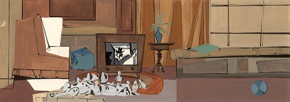 "Color styling key by Walt Peregoy for ""101 Dalmatians."""