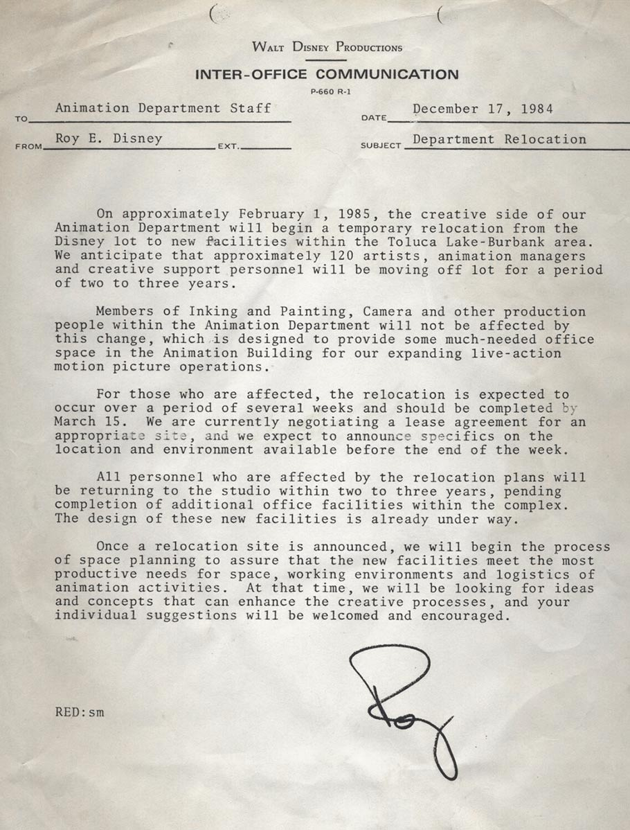 A memo from Roy Disney Jr. to the animation department informing them that they would be moved.