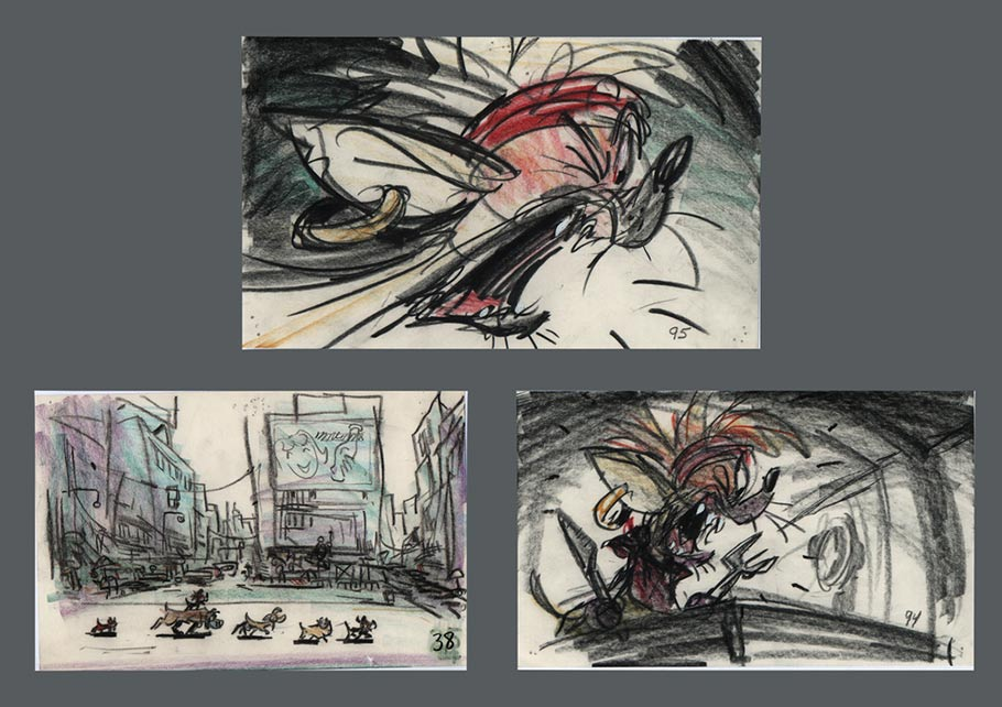 "Jeffrey Katzenberg like Pete Young's pitch for ""Oliver & Company"" as soon as he heard it. (Storyboard drawings from the film by Mike Gabriel. Click to enlarge.)"