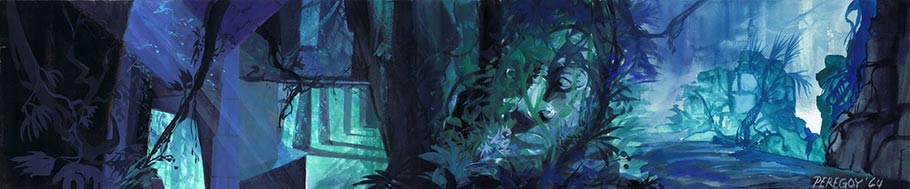 """The Jungle Book"" (1967) concept painting. Click to enlarge. (via Andreas Deja.)"