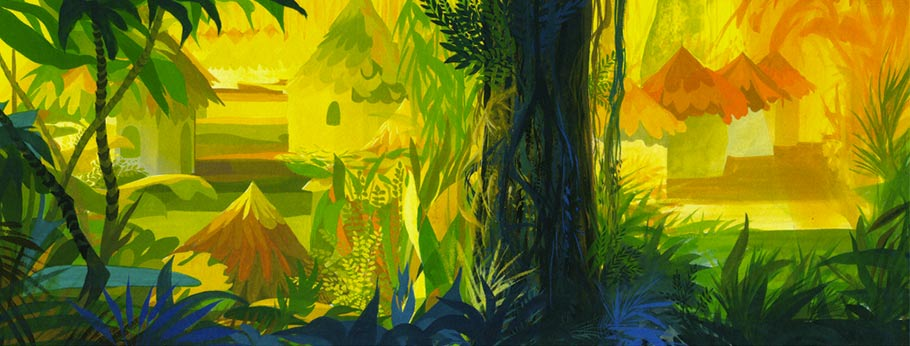 """The Jungle Book"" (1967) concept painting. Click to enlarge."