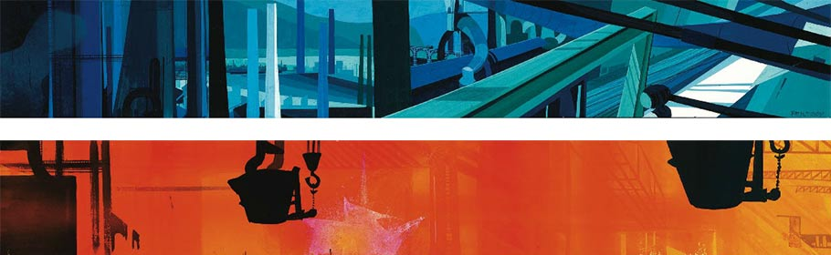 "Concept paintings for a Disney industrial film ""Steel and America"" (1965). Click to enlarge."