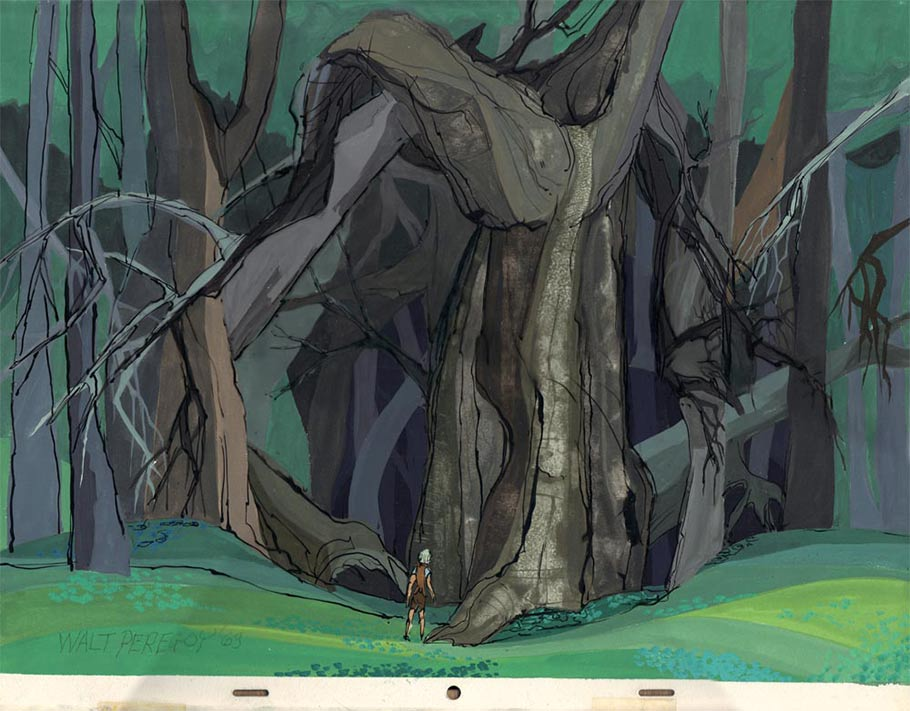"""The Sword in the Stone"" (1963) background concept painting. Click to enlarge."
