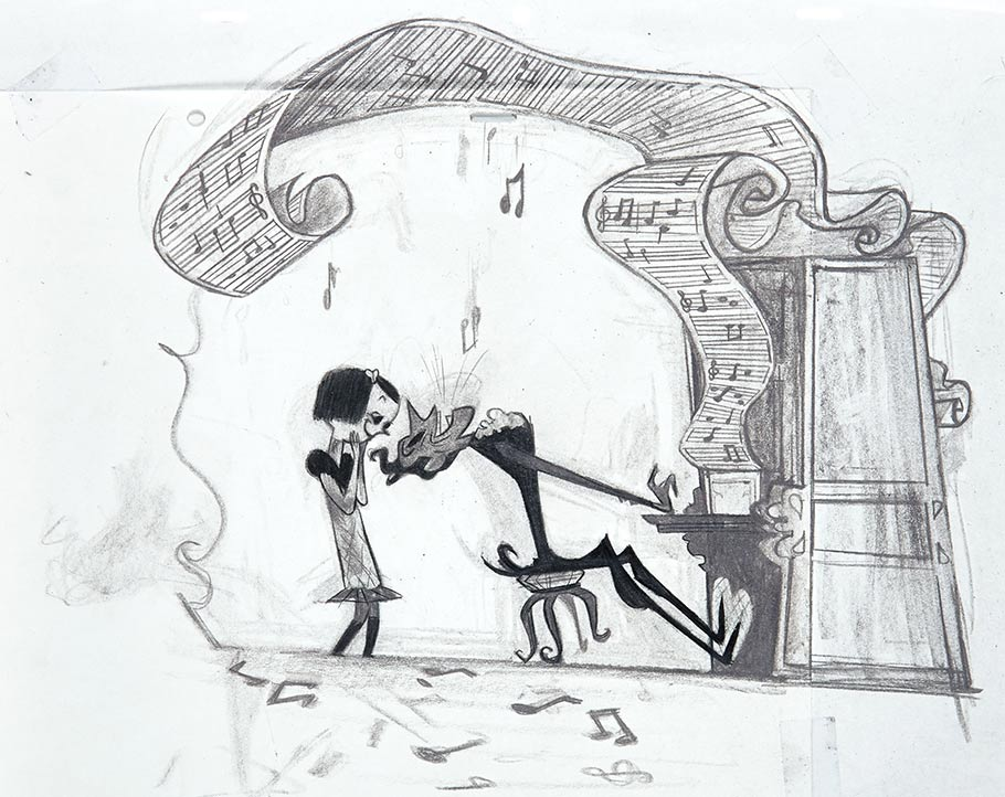 Concept/story sketch of Coraline meeting her Other Father, as he charms her at his piano. Drawing done in graphite. Artist: Stef Choi.