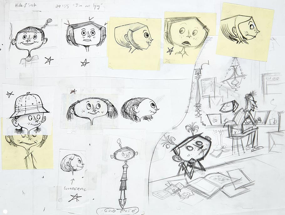Hand-drawn animator's model sheet of an early Coraline design. It includes 11 facial designs on paper taped to 16 field animation paper. Also on the backing paper is a sketch of Coraline reading a book and daydreaming, while her Dad is at work on his computer. Pen and ink over graphite, this piece is an early look into the development of the character. Artist: Dan Krall.