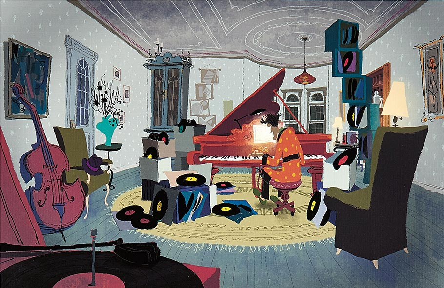 Lithograph of Coraline's Other Father at the piano. Created from original watercolor concept paintings by Tadahiro Uesugi, whose paintings were used to build the story as well as to create the color palette for the movie.