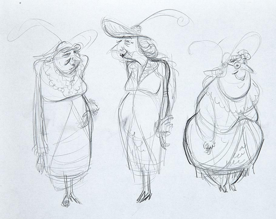 Character design concepts of Miss Spink and Miss Forcible, the retired old burlesque performers that live in the Pink Palace Apartment. Artist unidentified.