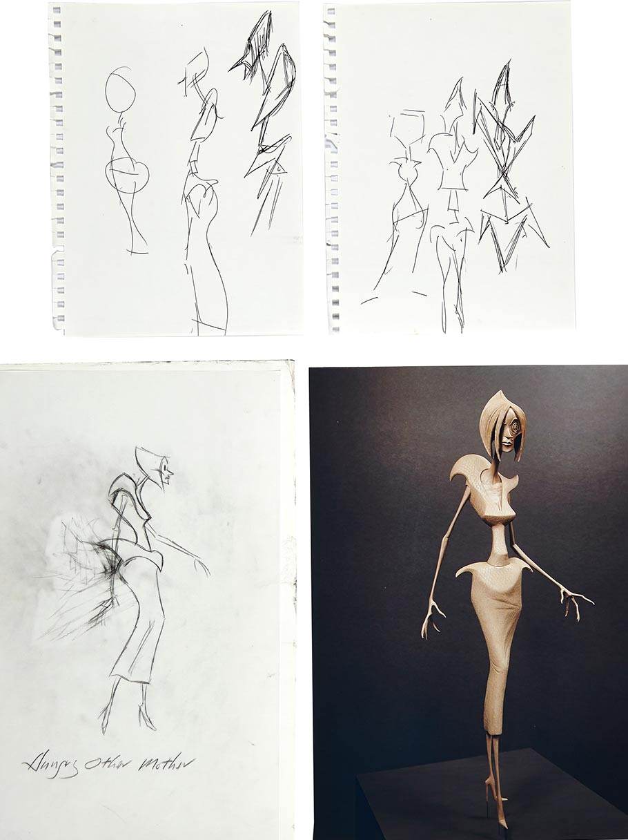 "Concept drawings of the Evil Other Mother drawn by the film's director Henry Selick. Two of the concept artwork pieces of the body of Evil Other Mother are drawn on binder paper. Selick's design concept sketches also include a third, full-figure, drawing of the Evil Other Mother labeled ""Hungry Other Mother"" done in graphite on vellum. Also,  a photograph of the Animator's Maquette of the Evil/Hungry Other Mother that the sketches helped to develop."