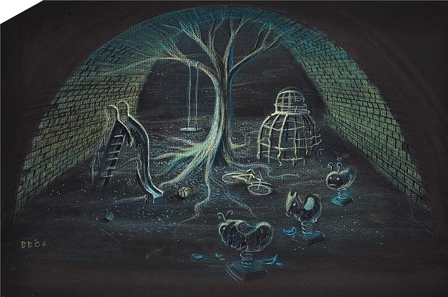 Ghost Children's Playground concept artwork by Bill Boes. Done in pastel on black paper.