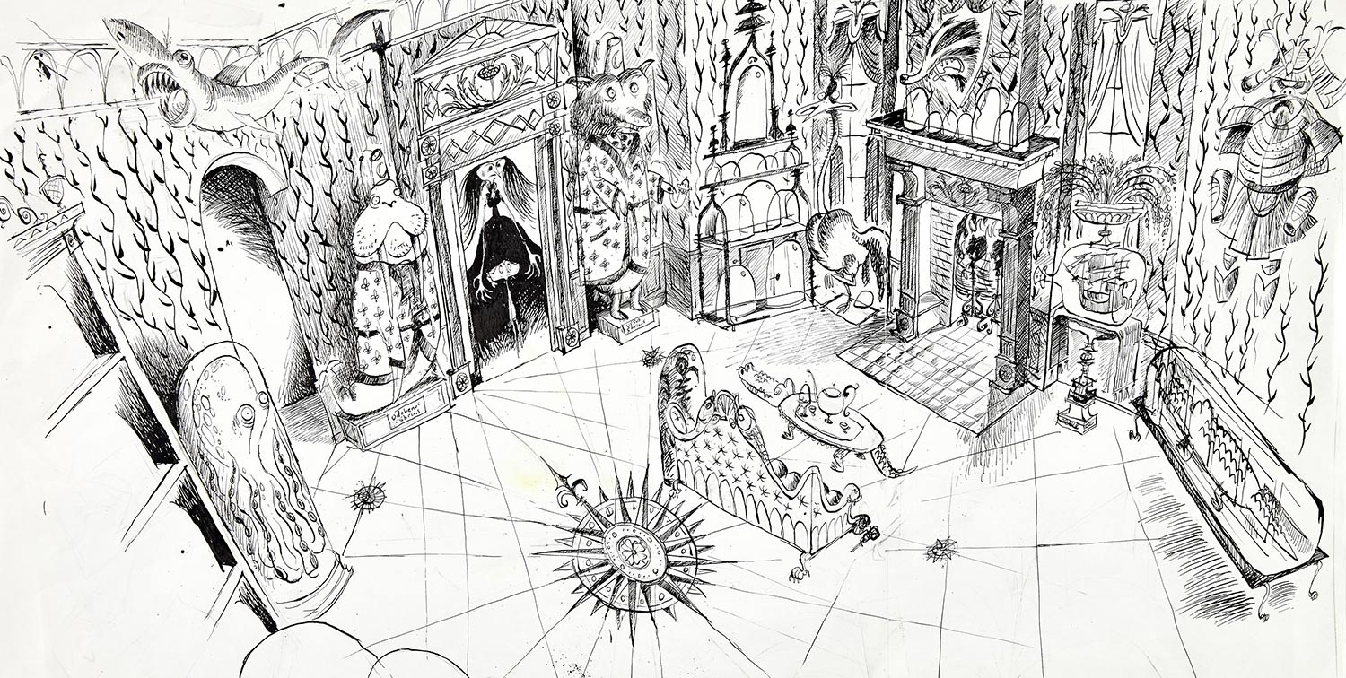 Other Mother's Living Room concept artwork done in pen and ink. Artist: Dan Krall.