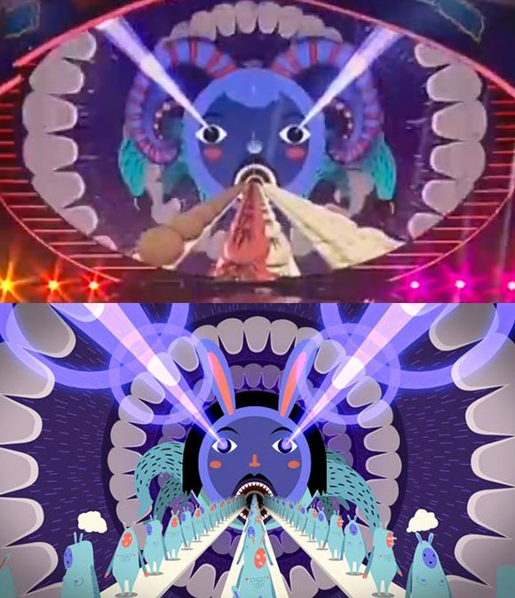 """The Chinese TV station Hunan TV (above) copied the animation from Panop Koonwat's student film """"Cupidiculous"""" (below) without permission."""
