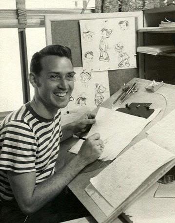 "Don Lusk animating on ""Pinocchio,"" ca. 1940."