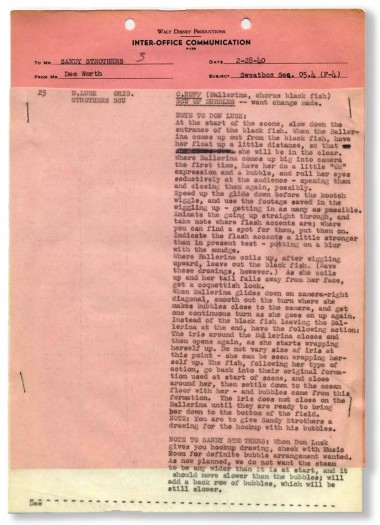 """A page of sweatbox notes from Disney's """"Fantasia"""" that was recently auctioned online. (Click to enlarge.)"""