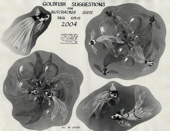 """A model sheet of goldfish concepts from the Arabian Dance sequence of """"Fantasia'""""s 'Nutcracker Suite.' (Click to enlarge.)"""
