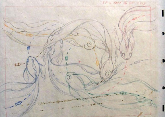 """A layout drawing for a fish ballerina's path of action, with color indications to differentiate the routes and dimensional arrows to match the changing perspective animation of the fish in 'The Nutcracker Suite' sequence of """"Fantasia."""""""