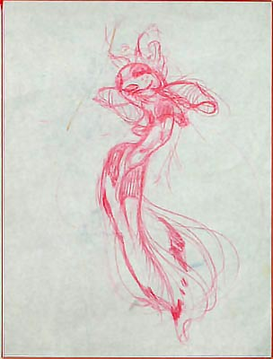 The Middle Eastern belly dancer influence is evident in this early concept drawing by an unidentified artist. (via Tobey C. Moss Gallery)