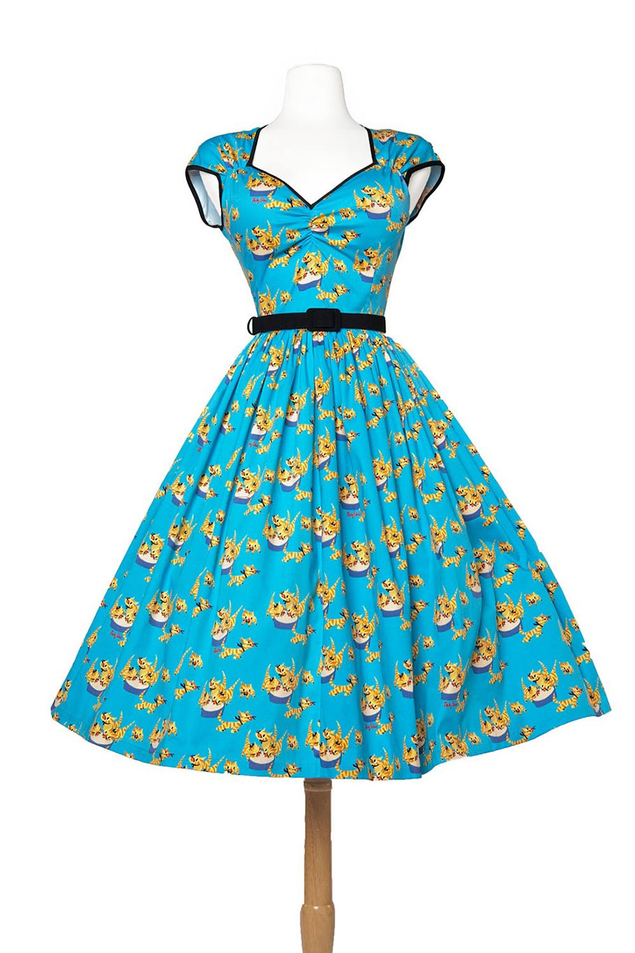 Heidi dress with gathered skirt in cat print. (Click to enlarge.)