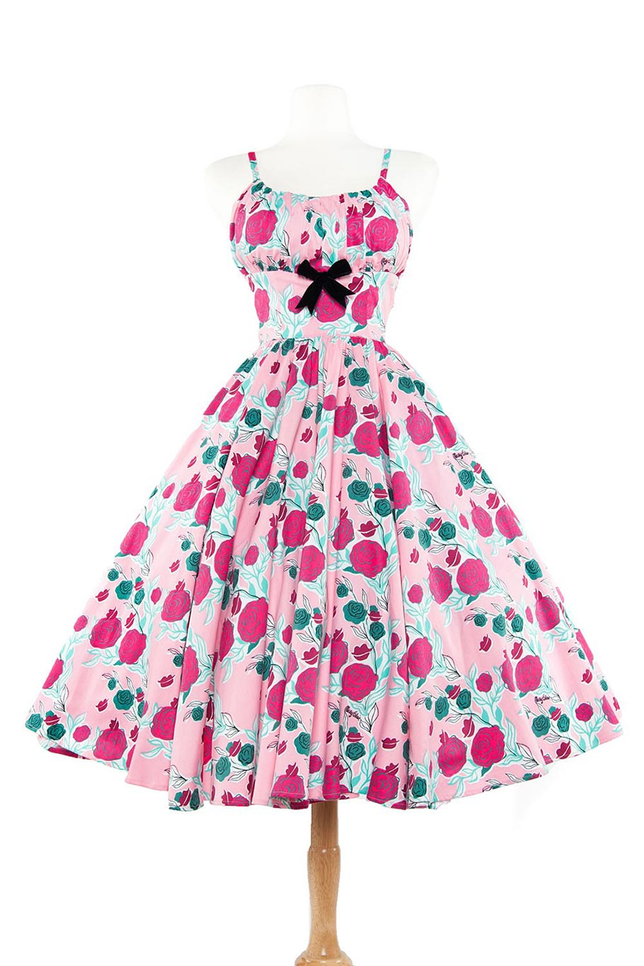 Ella dress in lips and roses print in pink. (Click to enlarge.)