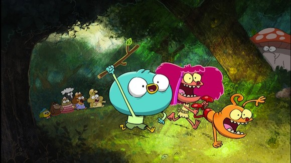 "Harvey, Fee and Foo in ""Harvey Beaks""."