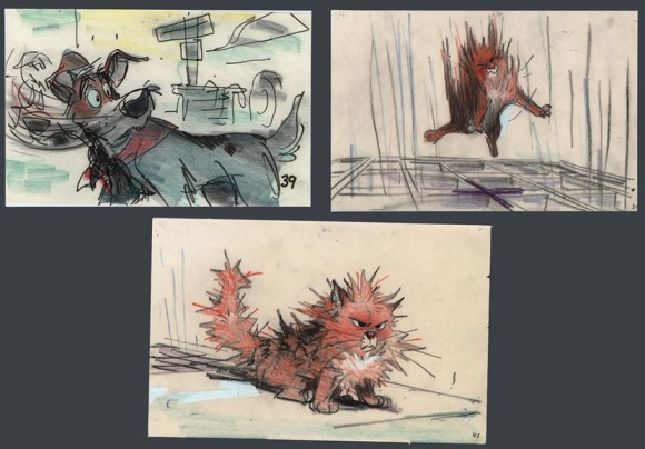 """Oliver and Company"" storyboards by MIke Gabriel. (Click to enlarge.)"