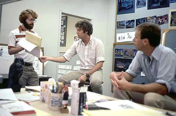 From left to right: Ron Clements, Pete Young and Steve Hulett working at Disney.
