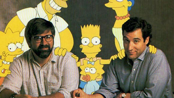 Matt Groening (left) and Sam Simon, 1989.