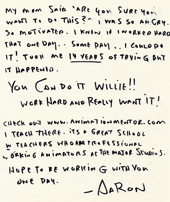 read inspiring handwritten letters from animators to young artists