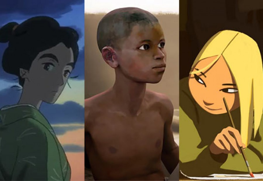 """Three features that will screen in competition at Annecy this year (l. to r.): """"Miss Hokusai,"""" """"Aadam,"""" and """"Long Way North."""""""