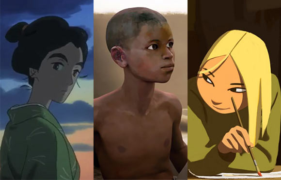 "Three features that will screen in competition at Annecy this year (l. to r.): ""Miss Hokusai,"" ""Aadam,"" and ""Long Way North."""