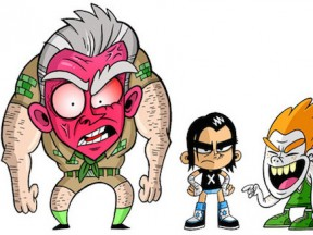 Preliminary art for 'Camp WWE', with (presumably) Mr. McMahon (left).