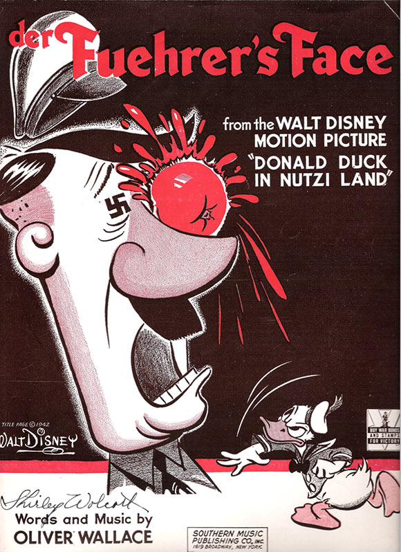 """""""Der Fuehrer's Face"""" sheet music cover drawn by Ward Kimball."""