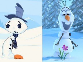 "The co-director of ""The Snowman"" (left) claims that the teaser trailer for ""Frozen"" (right) stole its concept."