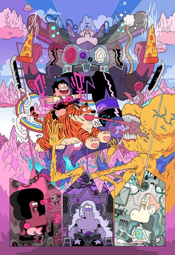 """Steven Universe""/""Uncle Grandpa"" Cross-over poster by Nick Edwards. (Click to enlarge.)"