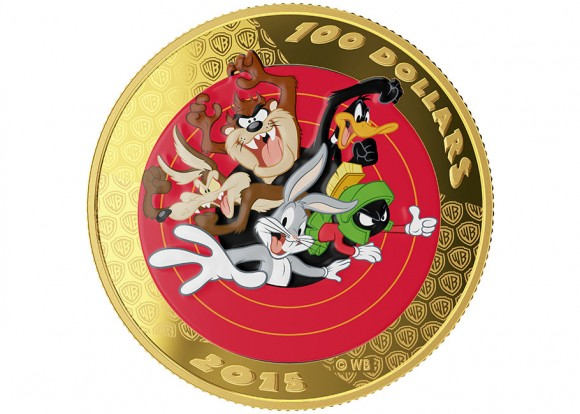 $100 14-karat gold coin which comes with a Looney Tunes pocket watch and is  available for $799.95 CAD. (Click to enlarge.)