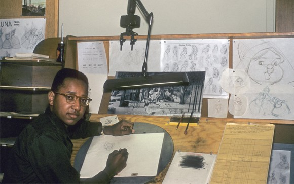 "Floyd Norman working on Disney's ""Sleeping Beauty."" (Click to enlarge.)"