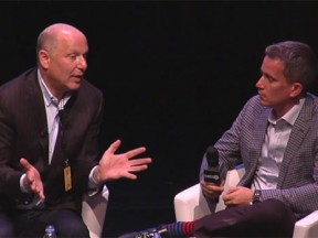 Illumination honcho Chris Meledandri (left) speaks with Peter Debruge last week at the Annecy festival.