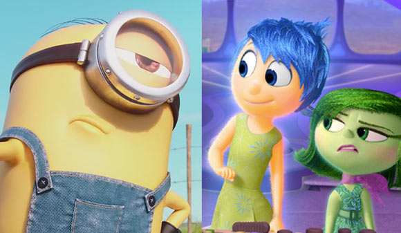 """""""Minions"""" (left) and """"Inside Out"""" are both big hits around the globe."""