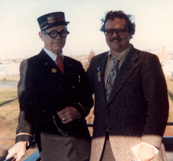 Disney animator/director Ward Kimball (l.) with John Culhane in 1978. (Photo: Ward Kimball Family collection.)