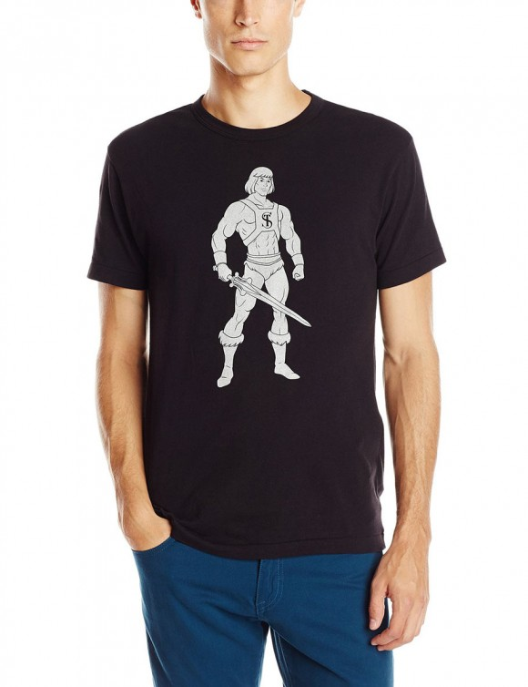 How does a regular T-shirt become a $75 T-shirt? When designer Todd Snyder slaps his initials over a stock image of He-Man! (Click to enlarge.)