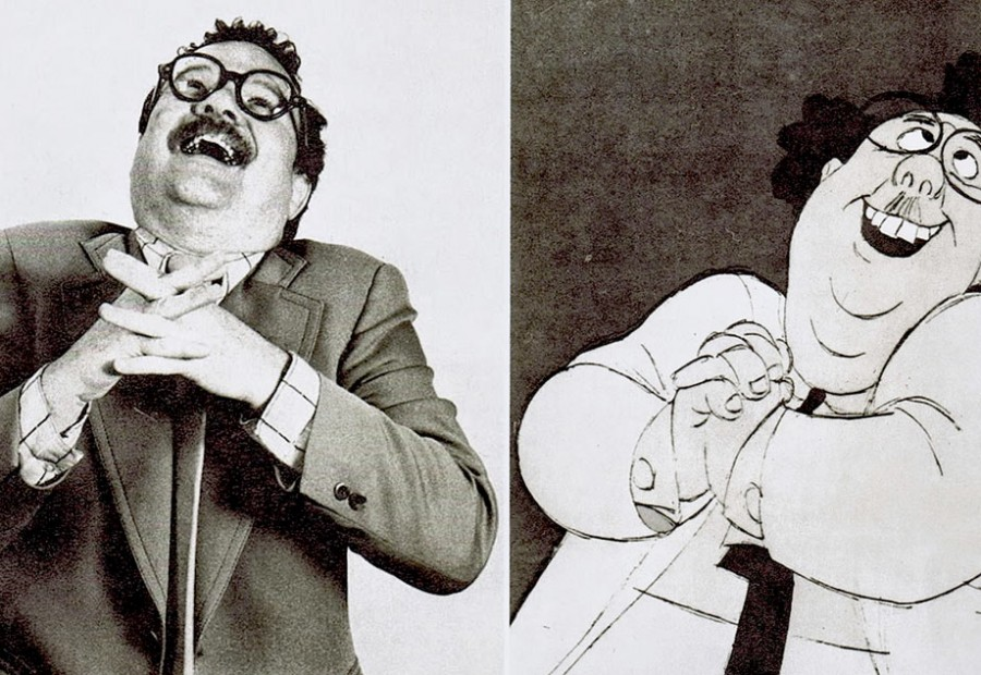 """Animation historian John Culhane serving as model reference for Mr. Snoops in Disney's """"The Rescuers"""" (1977). Click to enlarge."""