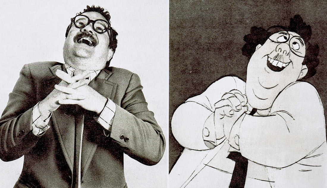 "Animation historian John Culhane serving as model reference for Mr. Snoops in Disney's ""The Rescuers"" (1977). Click to enlarge."