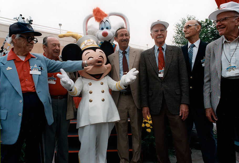 Ward Kimball, Marc Davis, Roy Disney Jr., Ollie Johnston, Ken O'Connor, and Frank Thomas, attend the opening of Disney-MGM Studios. (Click to enlarge.)