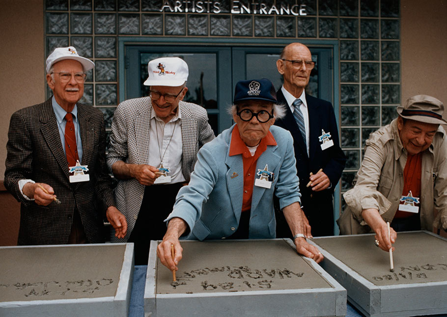 The opening of Disney-MGM Studios on May 1, 1989 was attended by (l. to r.) Ollie Johnston, Frank Thomas, Ward Kimball, Ken O'Connor, and Marc Davis. (Click to enlarge.)